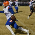 #6 for Hanahan retreats with lots of Dillon pressure and throws an interception.