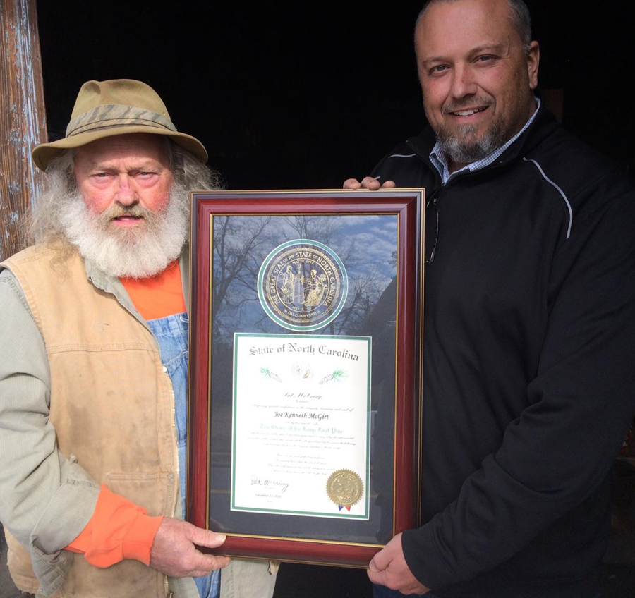 Mike presenting Joe with Order of Long Leaf Pine