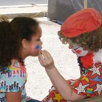 Gracey, the clown, facepainting.